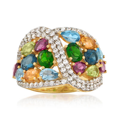 5.50 ct. t.w. Multicolored Multi-Gem Ring in 18kt Gold Over Sterling, , default