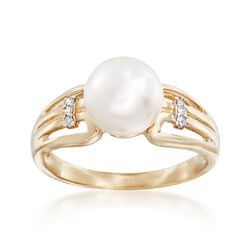 8-8.5mm Cultured Pearl Ring With Diamond Accents in 14kt Yellow Gold, , default