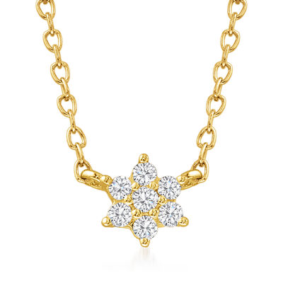 .10 ct. t.w. Diamond Flower Necklace in 14kt Yellow Gold