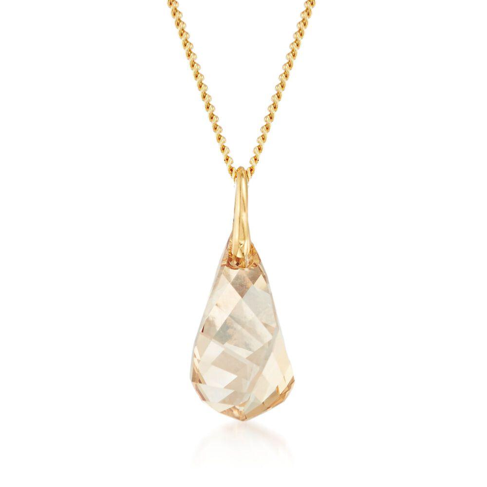 """4d40d72da Swarovski Crystal """"Energic"""" Golden Crystal Pendant Necklace in  Gold Plate."""