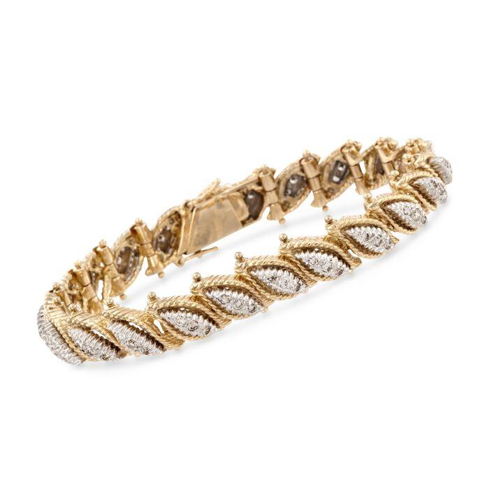 "C. 1970 Vintage 2.00 ct. t.w. Diamond Leaves Bracelet in 18kt Two-Tone Gold. 7.25"""