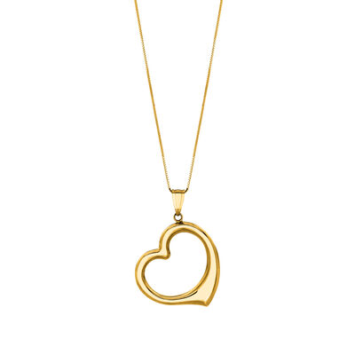 14kt Yellow Gold Open-Space Heart Pendant Necklace