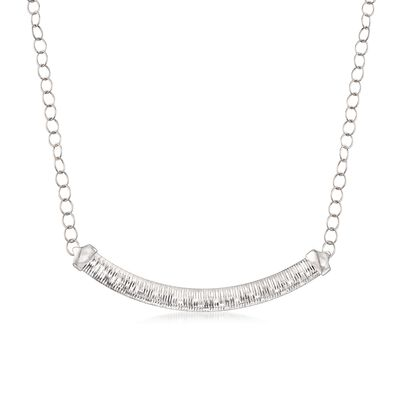 Italian Sterling Silver Diamond-Cut Cubetto Link Necklace, , default