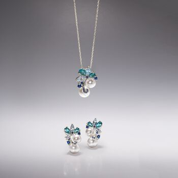 7-9.5mm Cultured Pearl and 1.80 ct. t.w. Blue Topaz Pendant Necklace with .10 ct. t.w. Sapphires in Sterling Silver, , default
