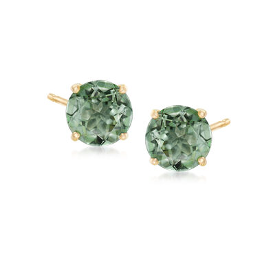 "3.00 ct. t.w. ""Emerald"" Envy Topaz Post Earrings in 14kt Yellow Gold"