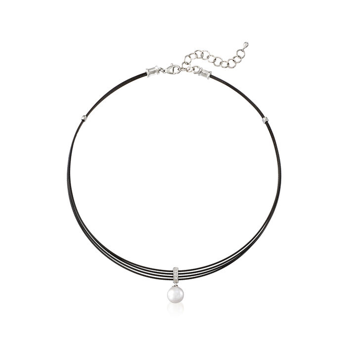 """ALOR Black """"Noir"""" Cultured Pearl Stainless Steel Cable Pendant Necklace with 18kt White Gold. 13"""""""