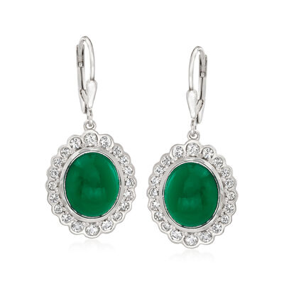 Green Chalcedony and 1.50 ct. t.w. White Topaz Drop Earrings in Sterling Silver