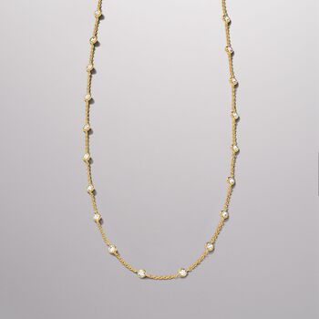 4.50 ct. t.w. CZ Station Necklace in 18kt Yellow Gold Over Sterling