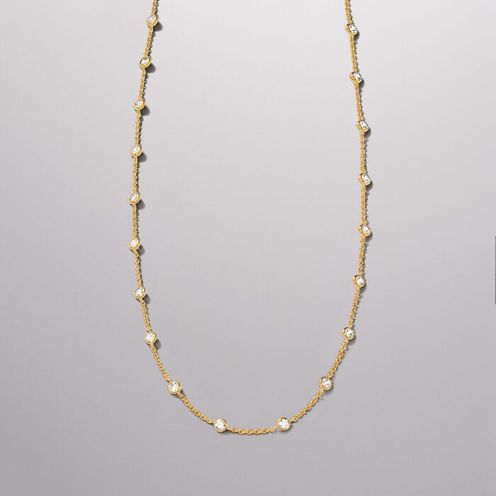 4.50 ct. t.w. CZ Station Necklace in 18kt Gold Over Sterling