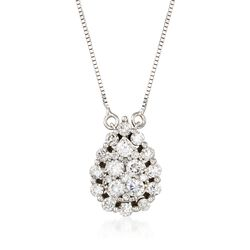 .89 ct. t.w. Diamond Cluster Necklace in 14kt White Gold, , default