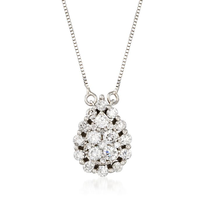".89 ct. t.w. Diamond Cluster Necklace in 14kt White Gold. 18"", , default"