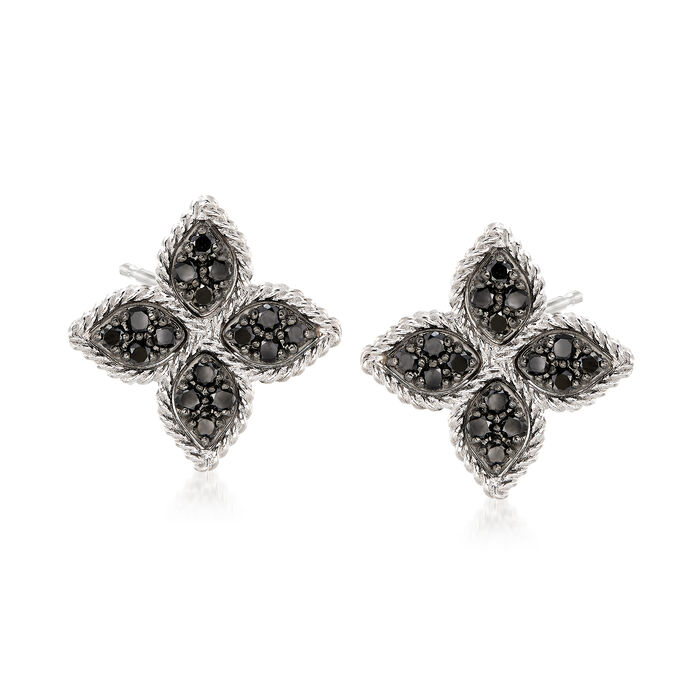 "Roberto Coin ""Princess"" .35 ct. t.w. Black Diamond Flower Earrings in 18kt White Gold. Pst, , default"