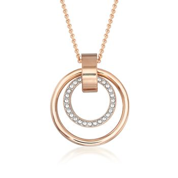 "Swarovski Crystal ""Hollow"" Pave Crystal Medium Double Circle Pendant Necklace in Rose Gold Plate. 29"", , default"