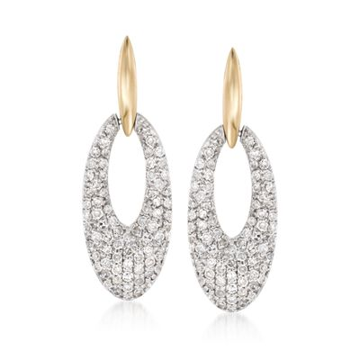 1.10 ct. t.w. Pave Diamond Doorknocker Earrings in 14kt Two-Tone Gold, , default