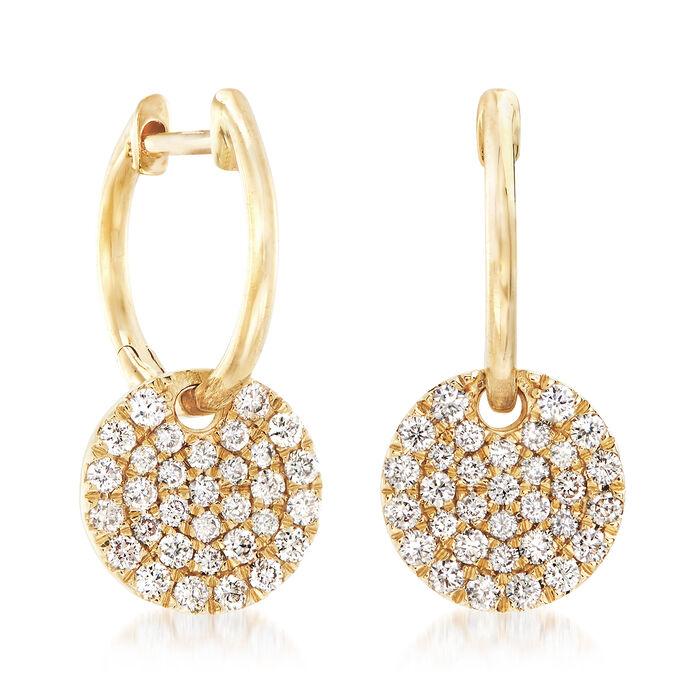 Gabriel Designs .49 ct. t.w. Diamond Hoop Drop Earrings in 14kt Yellow Gold