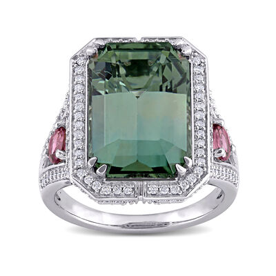 9.90 ct. t.w. Green and Pink Tourmaline and .73 ct. t.w. Diamond Cocktail Ring in 14kt White Gold