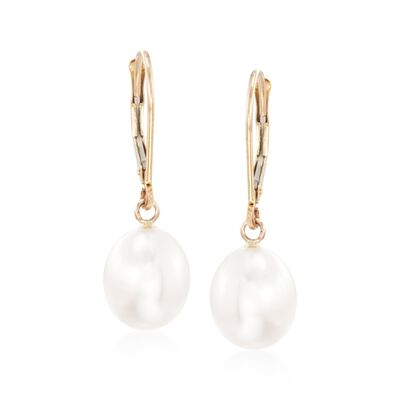 8-8.5mm Cultured Pearl Oval Drop Earrings in 14kt Yellow Gold, , default