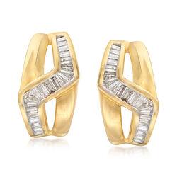 C. 1990 Vintage 1.55 ct. t.w. Diamond Zig-Zag Earrings in 18kt Yellow Gold, , default