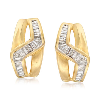 C. 1990 Vintage 1.55 ct. t.w. Diamond Zig-Zag Earrings in 18kt Yellow Gold, , default