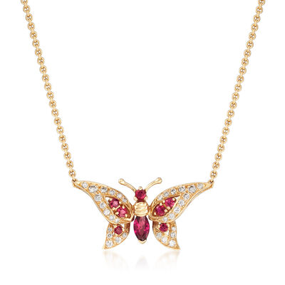 C. 1980 Vintage .75 ct. t.w. Ruby and .40 ct. t.w. Diamond Butterfly Necklace in 14kt Gold, , default
