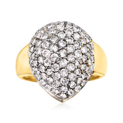 C. 1980 Vintage 1.50 ct. t.w. Diamond Cluster Ring in 14kt Yellow Gold