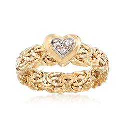 Italian 14kt Yellow Gold Byzantine Ring With Diamond Accents, , default