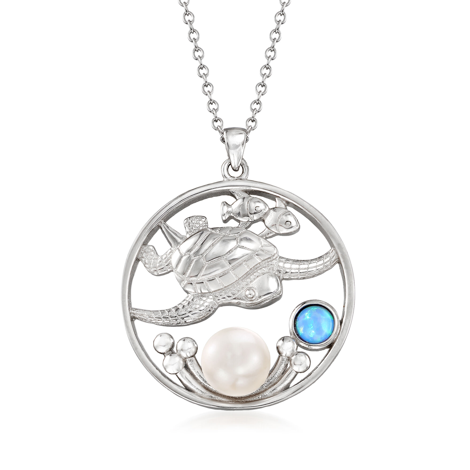 Jewelry Stores Network Sterling Silver Color Simulated Pearl Pendant