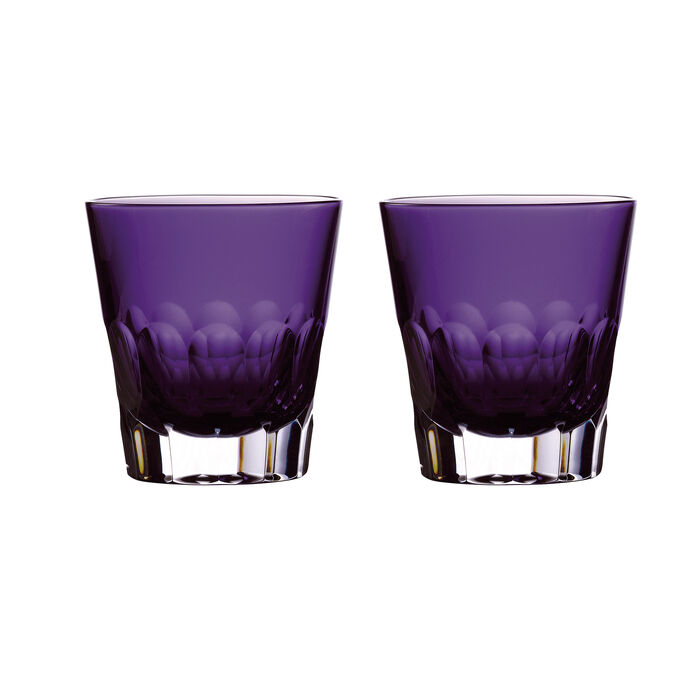 "Waterford Crystal ""Icon"" Set of 2 Purple Double Old-Fashioned Glasses, , default"