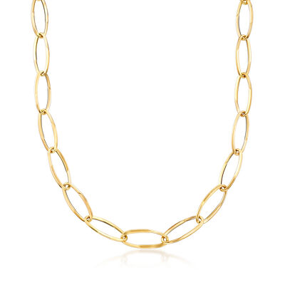 Italian 18kt Yellow Gold Long Link Necklace, , default