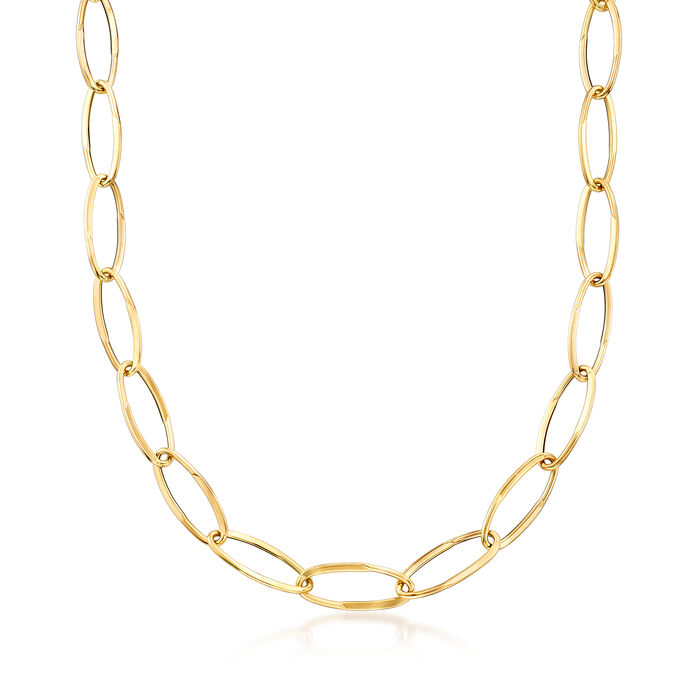 Italian 18kt Yellow Gold Long Link Necklace