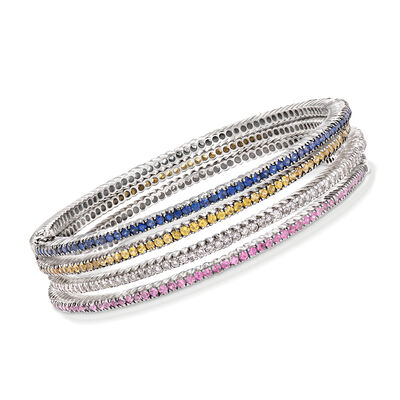 C. 1990 Vintage 7.80 ct. t.w. Multicolored Sapphire and 2.00 ct. t.w. Diamond Bangle Bracelet Set of Four in 18kt White Gold, , default