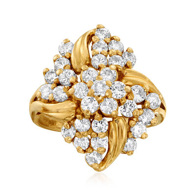 C. 1980 Vintage 2.00 ct. t.w. Diamond Flower Cluster Ring in 14kt Yellow Gold, , default