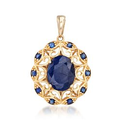 3.60 ct. t.w. Sapphire Scrolled Pendant in 14kt Yellow Gold , , default