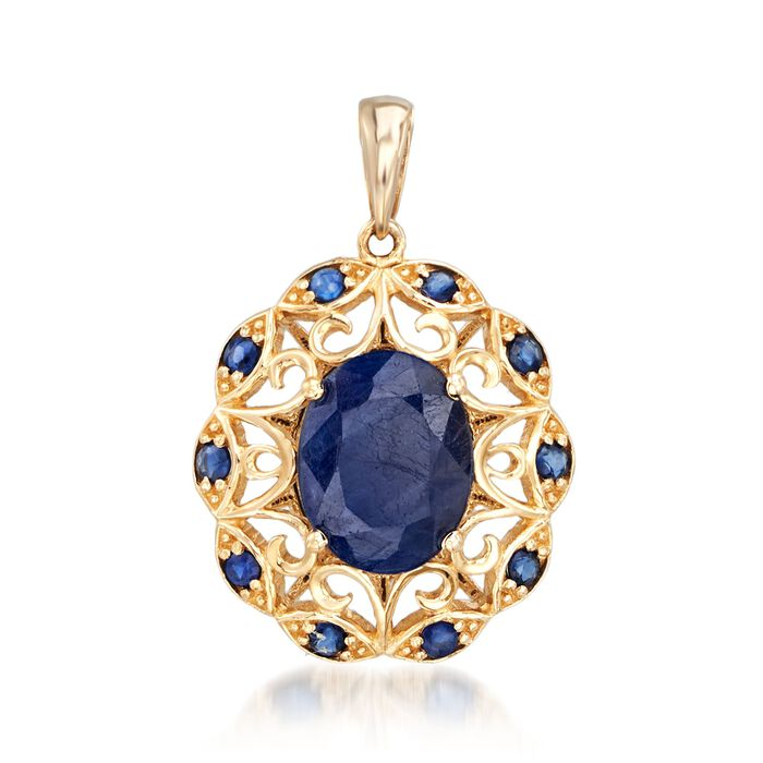 3.60 ct. t.w. Sapphire Scrolled Pendant in 14kt Yellow Gold, , default