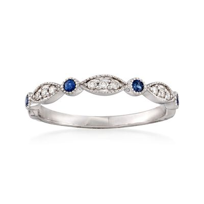 .10 ct. t.w. Sapphire and Diamond Accent Milgrain Ring in 14kt White Gold, , default