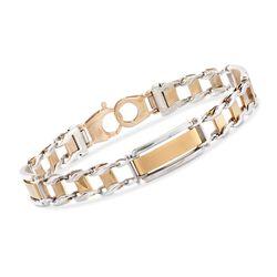 Men's 14kt Two-Tone Gold Brushed and Polished Link Bracelet, , default