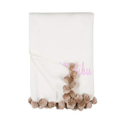 Ivory and Nude Pom Pom Throw Blanket, , default