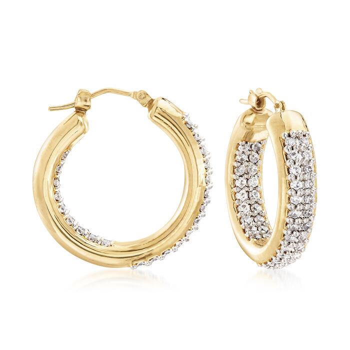 "Italian Andiamo 14kt Yellow Gold and 1.70 ct. t.w. CZ Inside-Outside Hoop Earrings. 1"", , default"