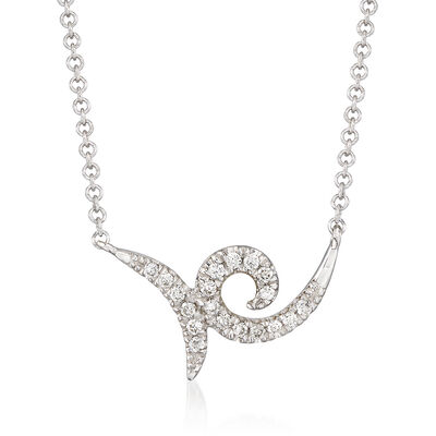 Gabriel Designs .10 ct. t.w. Diamond Swirl Necklace in 14kt White Gold, , default
