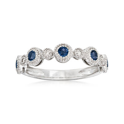 .40 ct. t.w. Sapphire Stackable Ring with Diamond Accents in 14kt White Gold
