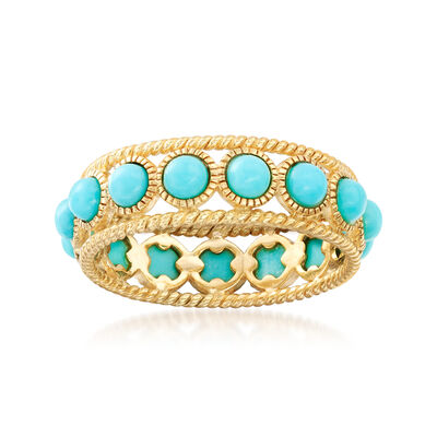 Simulated Turquoise Ring in 14kt Gold Over Sterling, , default