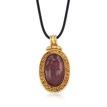 """C. 1980 Vintage Carved Carnelian Lady Justice Pendant Necklace in 18kt Yellow Gold With Black Rubber Cord. 17"""", , default"""