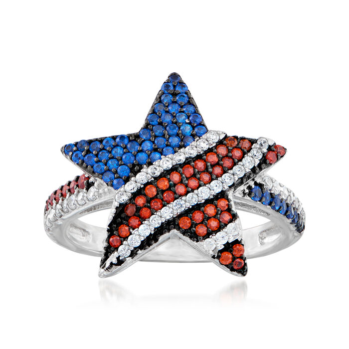 .40 ct. t.w. Simulated Multi-Gemstone and .20 ct. t.w. CZ Star Ring in Sterling Silver