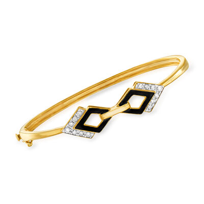 .33 ct. t.w. Diamond and Black Enamel Bangle Bracelet in 18kt Gold Over Sterling