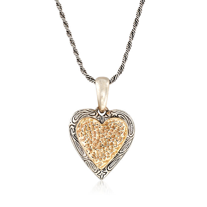 Sterling Silver and 14kt Gold Heart Pendant Necklace, , default