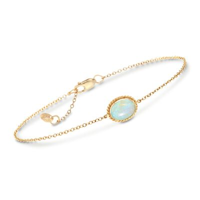 Oval Opal Roped Frame Bracelet in 14kt Yellow Gold, , default
