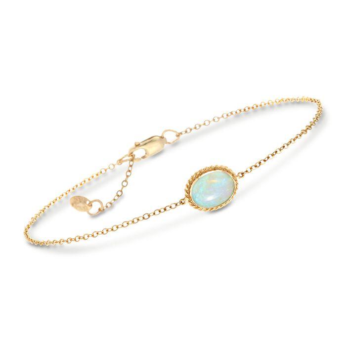 "Oval Opal Roped Frame Bracelet in 14kt Yellow Gold. 7"", , default"