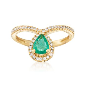 .70 Carat Emerald and .23 ct. t.w. Diamond Drop Ring in 18kt Yellow Gold, , default