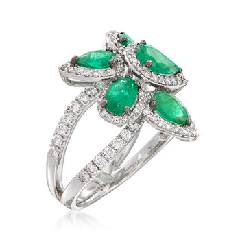2.10 ct. t.w. Emerald and .99 ct. t.w. Diamond Ring in 18kt White Gold, , default