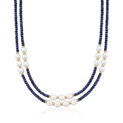 4-5mm Sapphire Bead and 7-8mm Cultured Pearl Two-Strand Necklace With 14kt Yellow Gold, , default